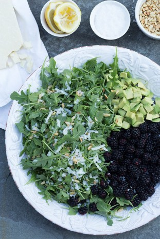 arugula, blackberry, avocado, and pecorino salad via lonny