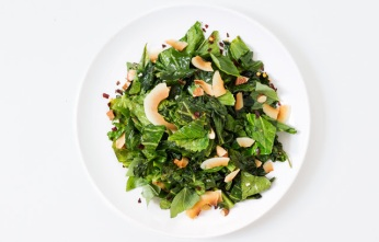 collard greens with toasted coconut chips via bon appetit
