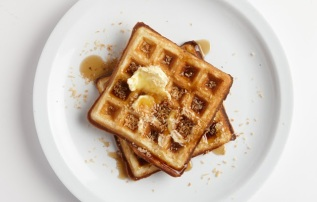 toasted coconut waffles via bon appetit