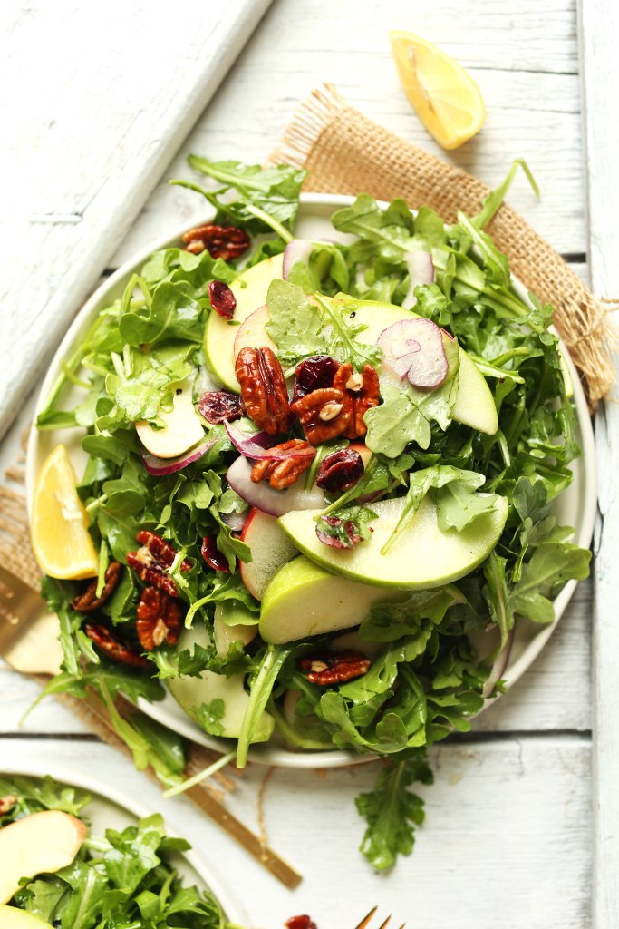 apple pecan arugula salad via minimalist baker
