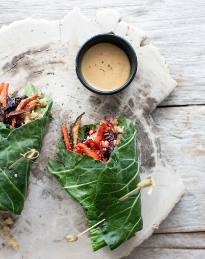 collard wraps w/roasted veggies, quinoa, brown rice + mustard miso via what's cooking good looking
