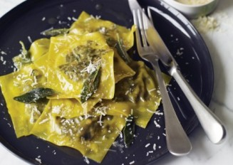 wild mushroom ravioli in sage and brown butter sauce