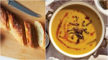 french baguette and squash soup