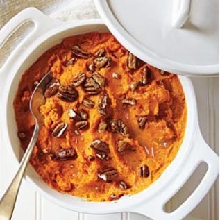 butter pecan mashed sweet potatoes* via cooking light