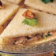 chutney chicken salad tea sandwich via delish