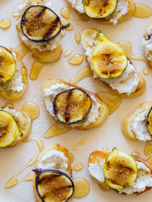 fig* hazelnut and ricotta crostini via spoon fork bacon