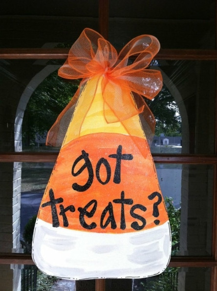 front door candy corn decor via etsy