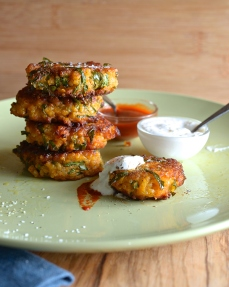 sweet potato, kale and quinoa fritters via yes more please