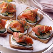 open faced salmon tea sandwiches via land o lakes
