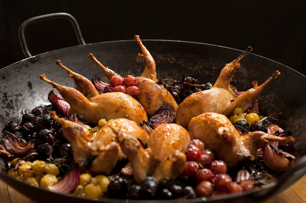 BONUS: quail with grapes via david tanis