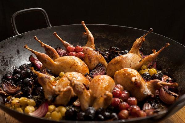BONUS: quail with grapes via david tanis