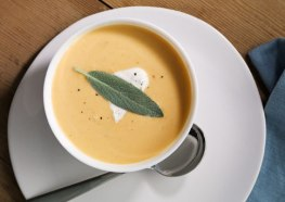 roasted butternut squash* soup with sage* cream via bon appetit