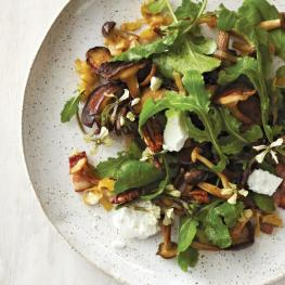 warm mushroom* salad with bacon vinaigrette via food & wine
