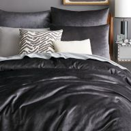 west elm washed luster charcoal grey velvet duvet cover and shams