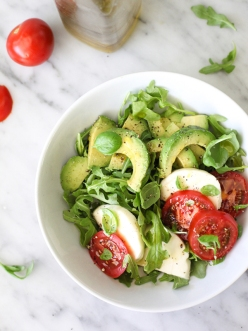 avocado caprese salad via foodie crush
