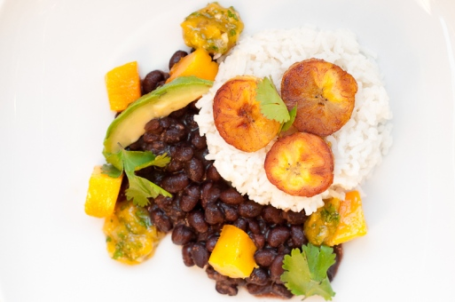 coconut rice with black beans plaintains and mango salsa via herbivoracious