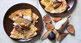 cornmeal crepes with figs and pears via bon appetit