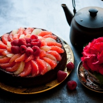 grapefruit raspberry flourless chocolate cake