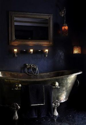midnight blue bath via architecturedesigns