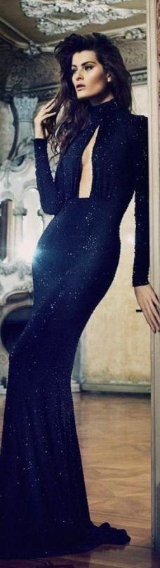 midnight blue evening gown via fashiongonerogue