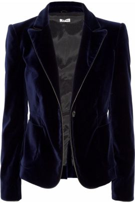 midnight blue velvet miu miu jacket via net a porter