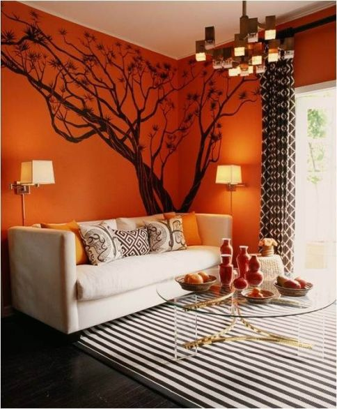 orange brown living room via unknown