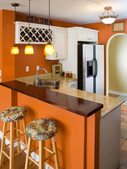 pumkin orange kitchen via hgtv