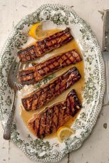 salmon glazed with rosemary and lemon infused honey via saveur