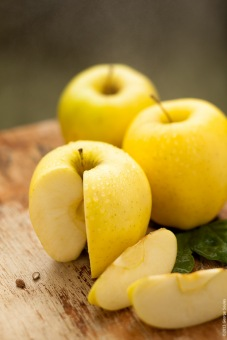 sliced golden delicious apples via george souls photography