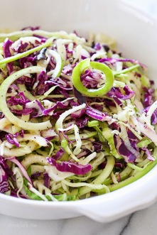 spiralized green apple and cabbage slaw