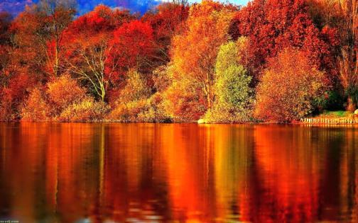sunset autumn river wallpaper