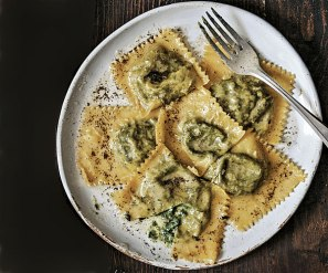 swiss chard ravioli with lemon brown butter