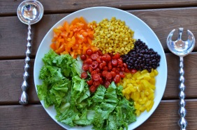tex mex rainbow salad w-creamy avocado dressing via girl and her kitchen