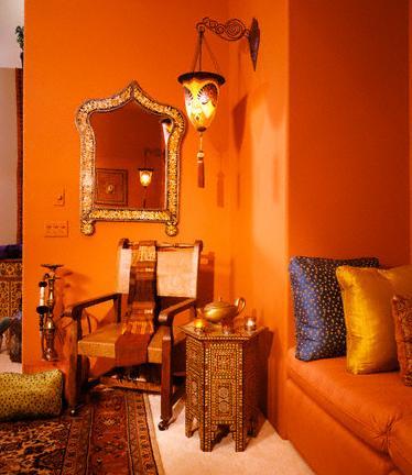 warm orange walls and furniture via unknown