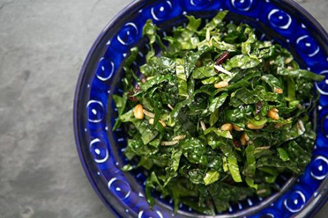 kale salad with balsamic, pine nuts and parmesan via simply recipes