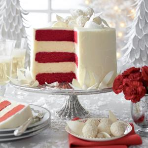 red velvet white chocolate cheesecake via southern living