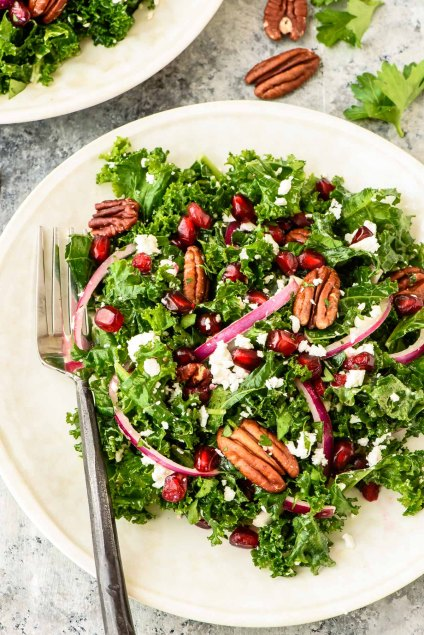 winter kale and pomegranate salad