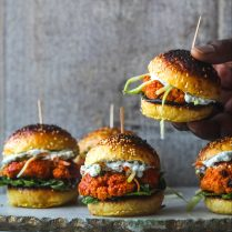 baked cauliflower buffalo sliders via chocolate for basil