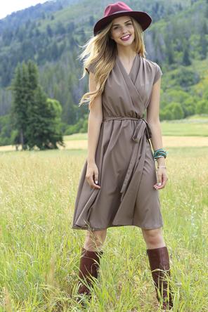 ivy taupe dress via shabby apple
