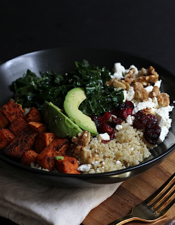 massaged kale and roasted sweet potato quinoa salad