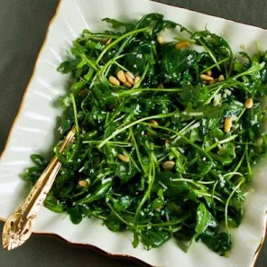 baby arugula salad with pine nuts via kalyns kitchen