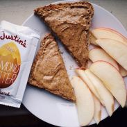 justin's almond butter with ezekial toast via fresh fit and fearless