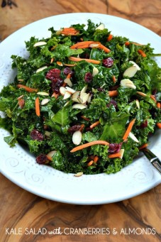 kale salad with cranberries and almonds via jo lynne shaw