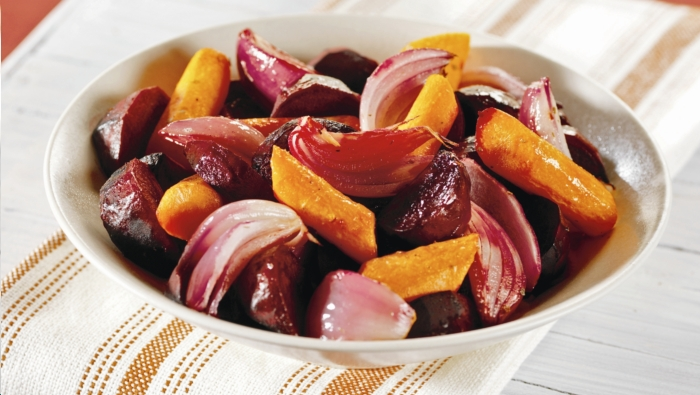 roasted carrots beets and red onion wedges via aha
