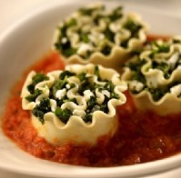 spinach lasagna roll ups w/tomato coulis via my recipes
