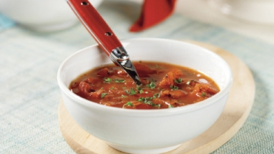 tomato and roasted bell pepper soup via aha