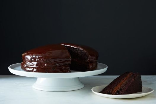 vegan chocolate cake with creamy chocolate filling via food52