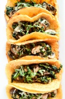 vegan crepe tacos with warm spinach mushroom filling via blissful basil