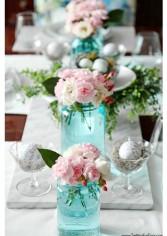blue mason jar table via setting for four