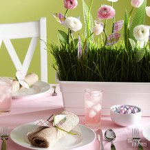 green and pink spring table setting via bhg
